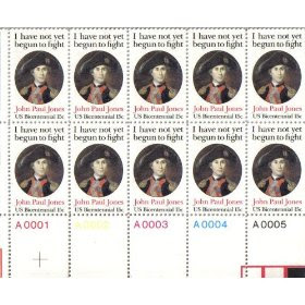 1979 JOHN PAUL JONES #1789 Plate Block of 10 x 15 cents US Postage Stamps