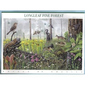 2002 LONGLEAF PINE FOREST (#3611) Souvenir Sheet of 10 x 34 cents US Postage Stamps