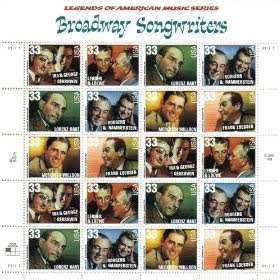 1999 BROADWAY SONGWRITERS #3350a Pane of 20 x 33 cents US Postage Stamps