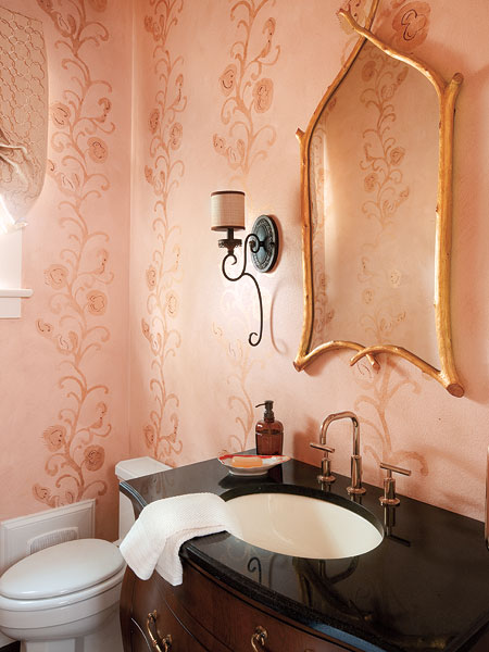 Dekorasyon b lg ler banyonuzu b y k ve geni g stermek for Pink black bathroom ideas