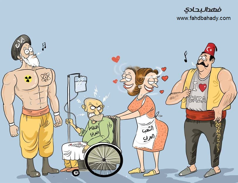 Below is a sample of political cartoons by Fahd Bahady from Syria (click