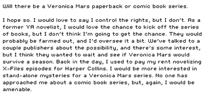 will there ever be v mars books?