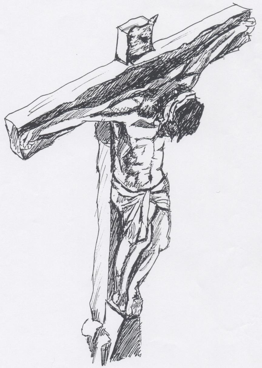 Jesus carrying cross drawing