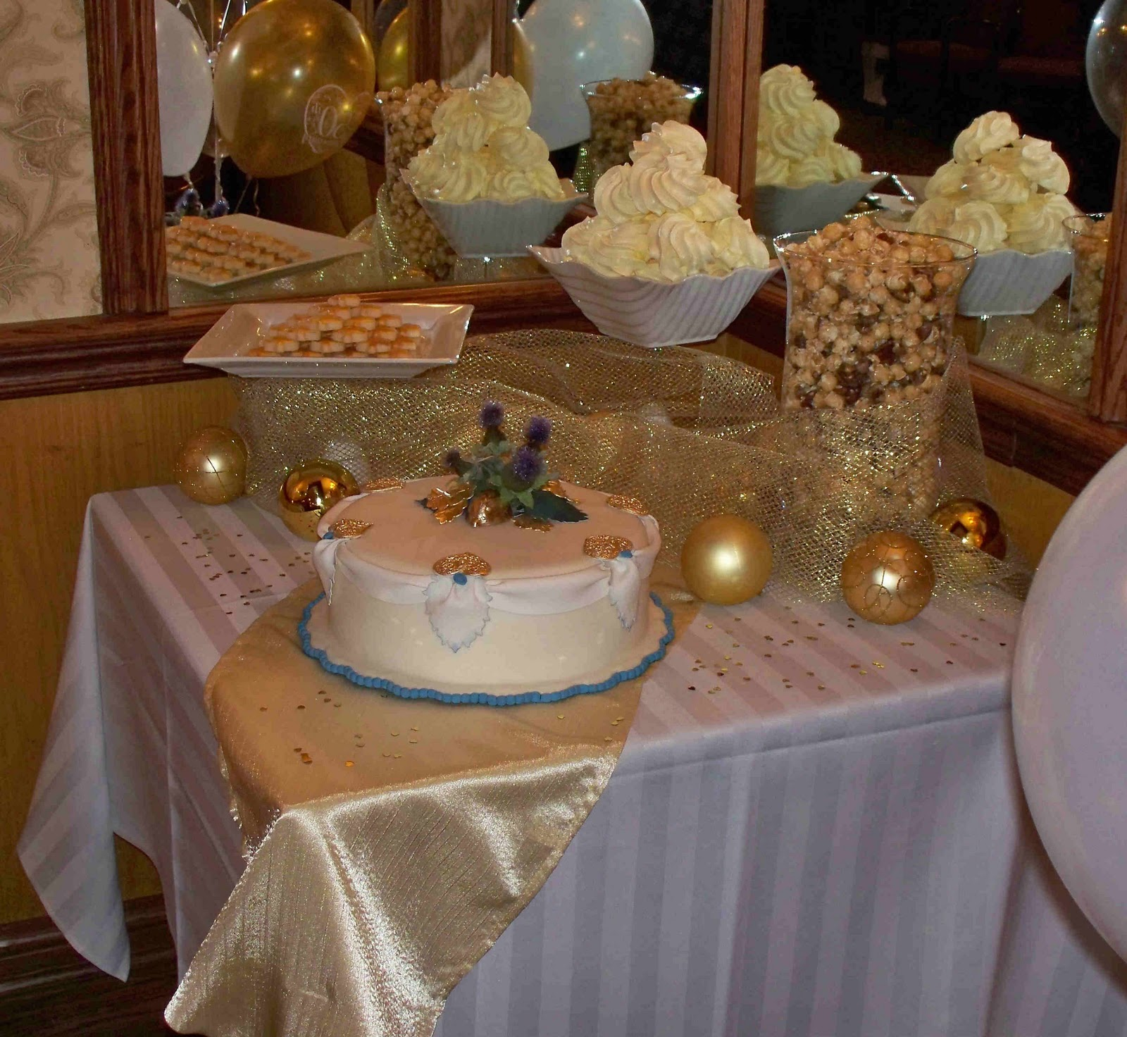 The dessert table all set up before guests arrived and title=