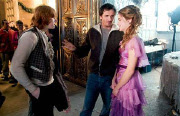 David Heyman (center) with Rupert Grint and Emma Watson