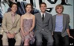 James and Oliver Phelphs, Bonnie Wright, and Tom Felton