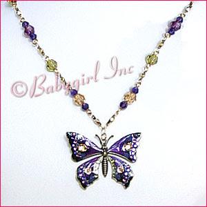 Anne Koplik Jewelry ~ Purple Enameled Butterfly Necklace on Beaded Crystal Chain