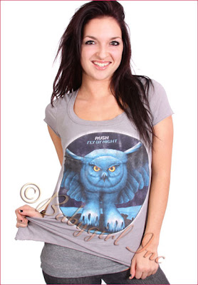 Rush Fly by Night Vintage Wash T-Shirt in Steel Blue with Owl Screen Print