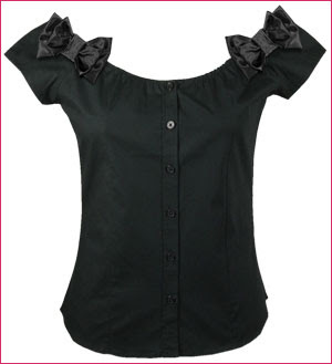 Lucky 13 Clothing - Sexy Hanky Panky Off the Shoulder Pinup girl Blouse with Black Satin Ribbon Bows