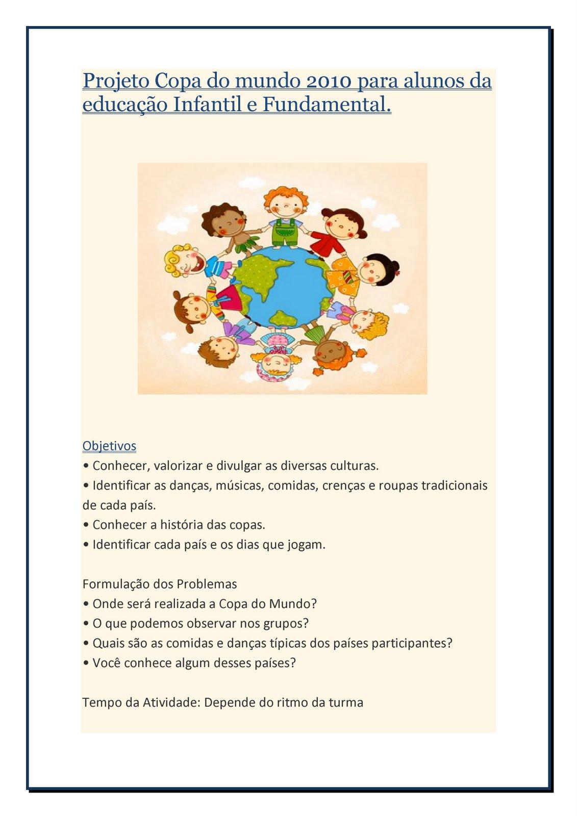 #197FB2 Projeto Copa do mundo 2010 para alunos da educação Infantil e  1131x1600 px Projeto Cozinha Na Educação Infantil_4295 Imagens