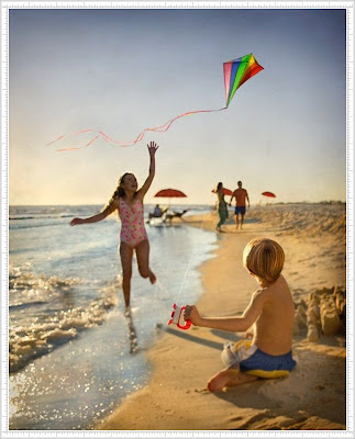 Cute Kids and Baby's Playing on Beach