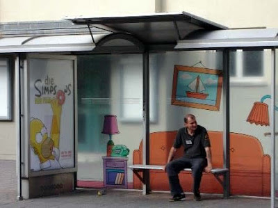 The Simpsons Bus stop in Germany, advertising for the movie