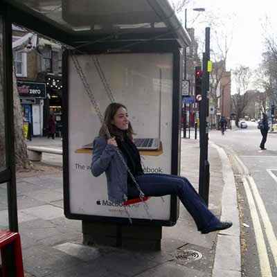 Swing on a Bus Stop in London, part of Bruno Taylor's