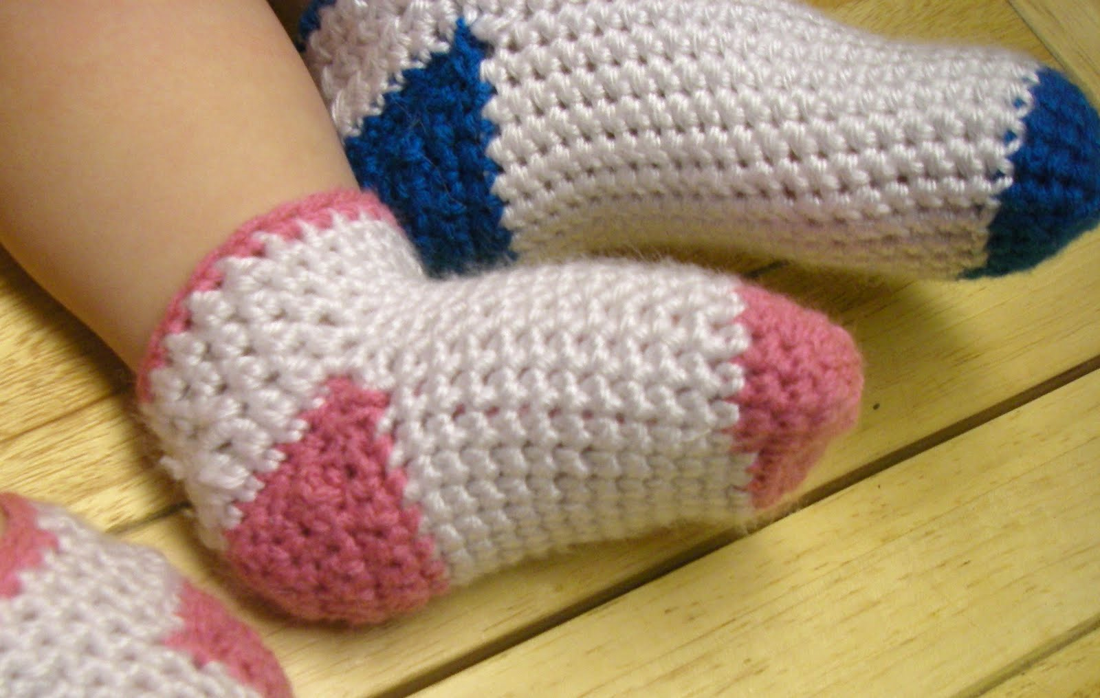 Free Crochet Sock Patterns Using Sock Yarn : Baby - Toddler Crochet Socks - mamacheemamachee