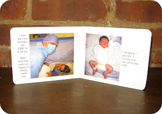Recycled crafts:  upcycled altered baby board book with baby's first days