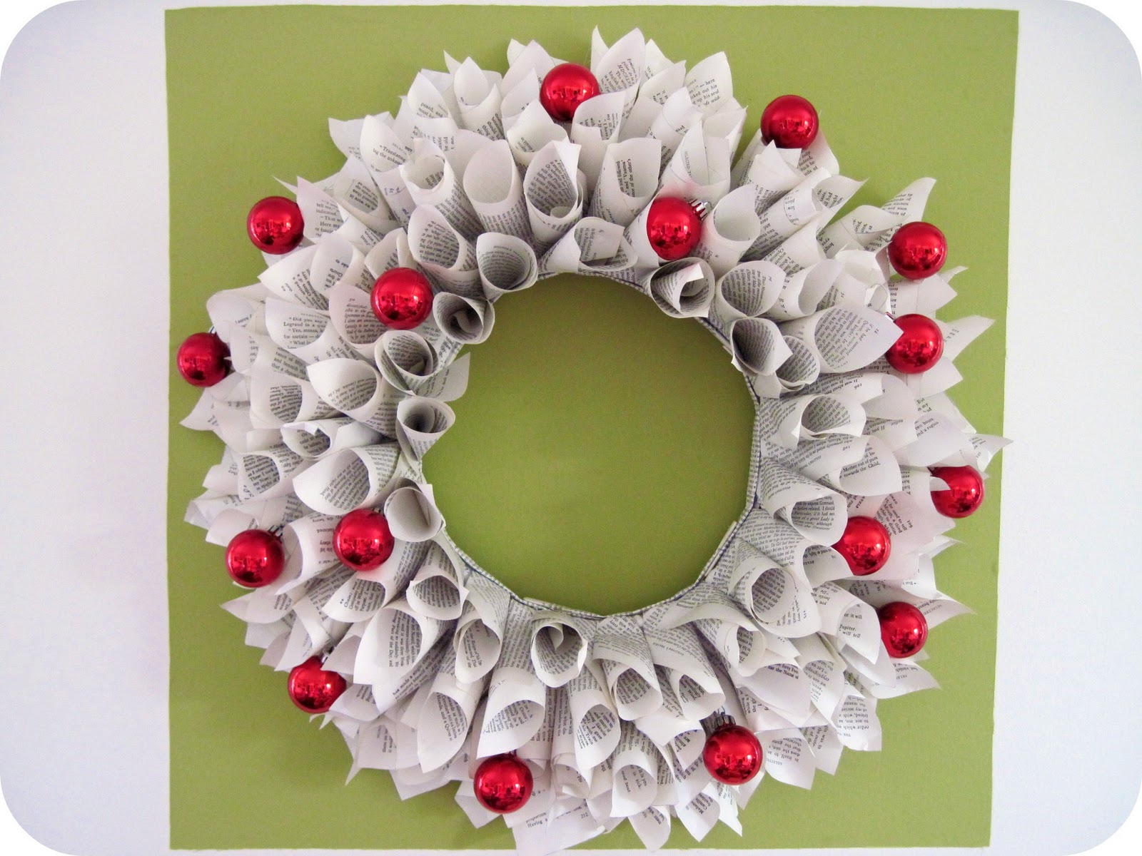 Homemade by jill holiday cheer book wreath for Easy to make christmas decorations at home