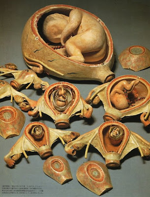 Wood carved fetus model set (circa 1877) - Toyota Collection. Click through for more info