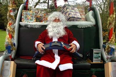 Santa wearing a seatbelt