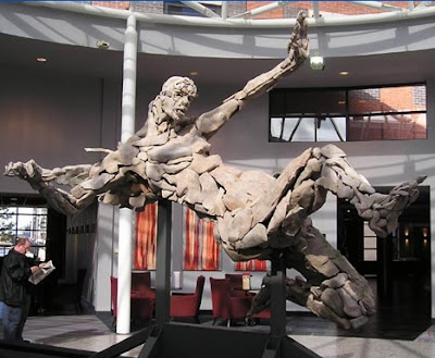 Fallen Angel, built from 300 individual pieces of stone