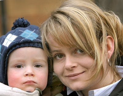 Janine Bauer and her son