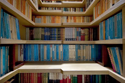 book-lined staircase