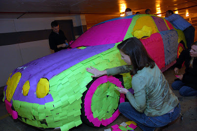 Jaguar covered in post-it notes