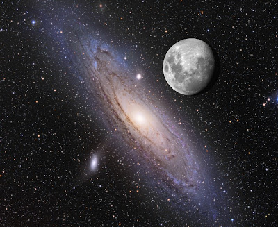Andromeda Galaxy and the Moon