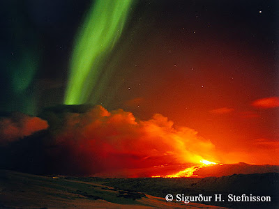 Volcano eruption and an Aurora