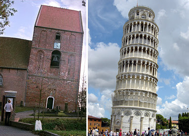 Church in Suurhusen (left), Tower of Pisa (Right)