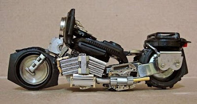 Motorbike art made from watch parts