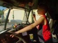 Matthew Lovo Jr in a semitrailer
