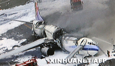Charred remains of an exploded Boeing 737-800