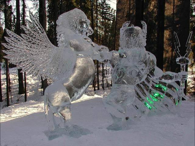 Grey horse matters ice sculptures