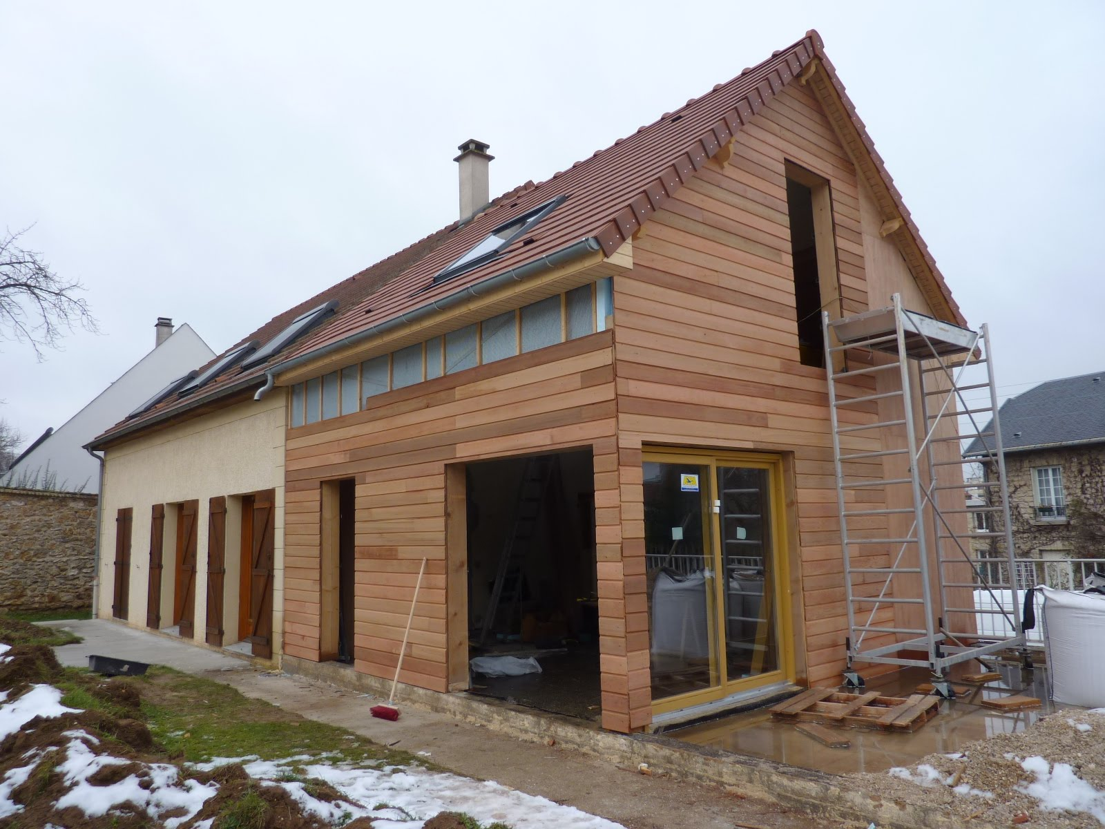 Suite chantier ossature bois le chesnay architecte for Architecture bois