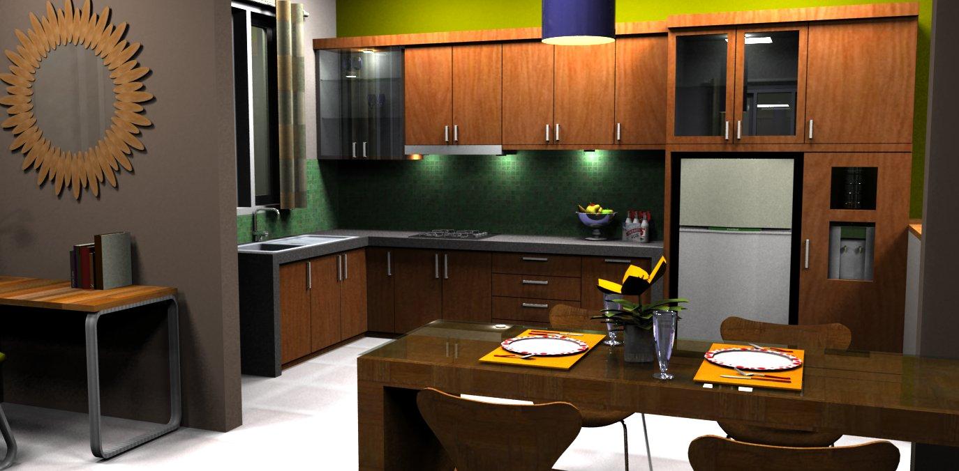 Desain interior rumahnya dibuat selaras dengan bentuk rumahnya, simple ...