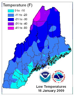 Images Click To Enlarge Maine Low Temperatures Jan 16 2009 From National Weather Service U S Temperature Departure From Average Jan