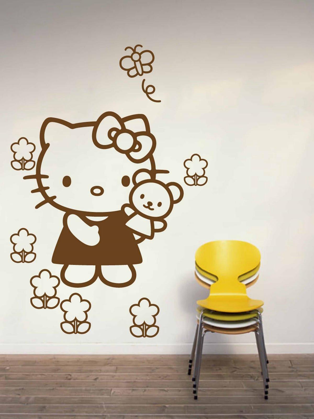 Nb vinilos hello kitty flores for Vinilo hello kitty