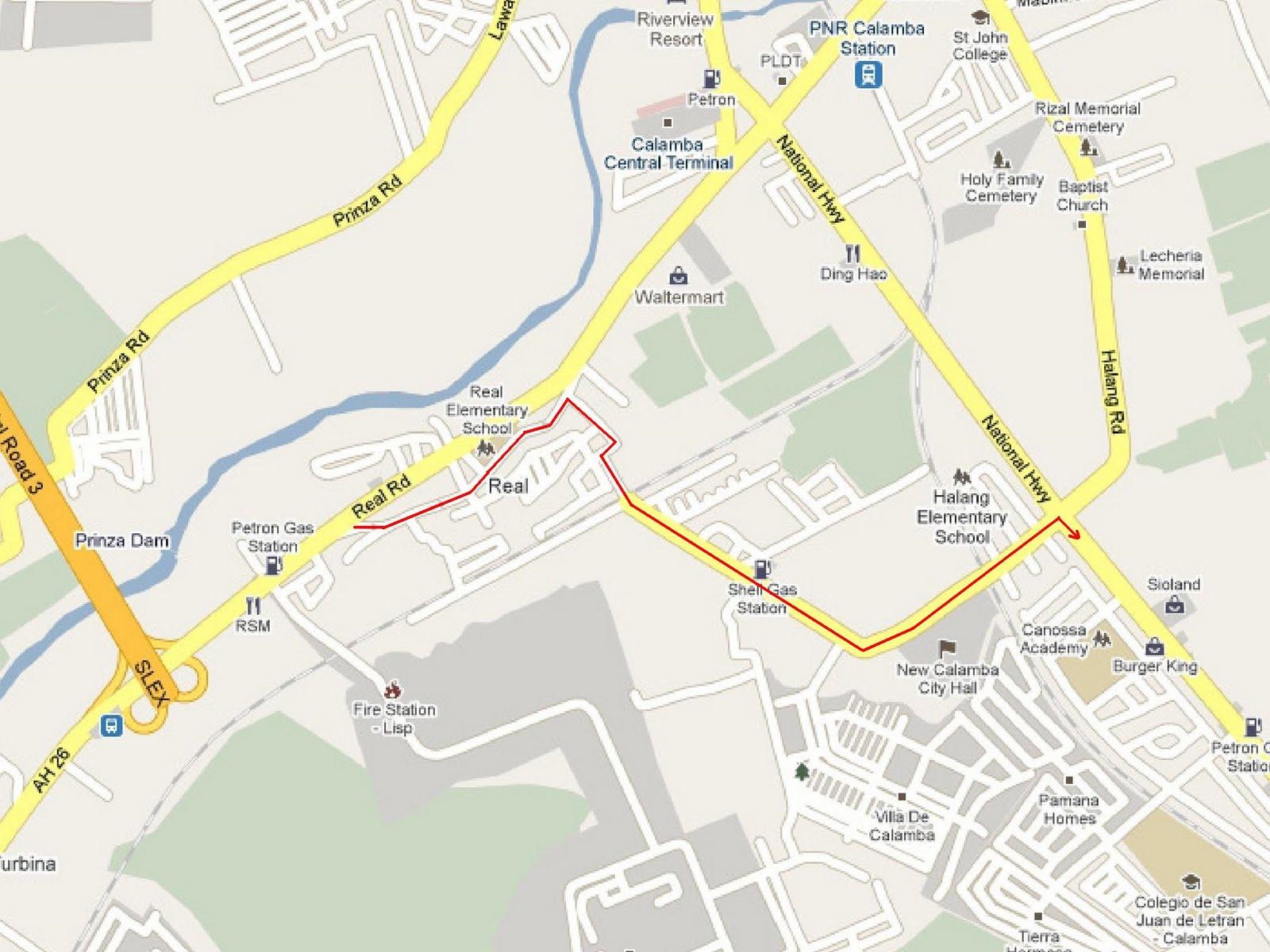 Shortcut To Los Banos Laguna Blackdove Nest - Calamba city map
