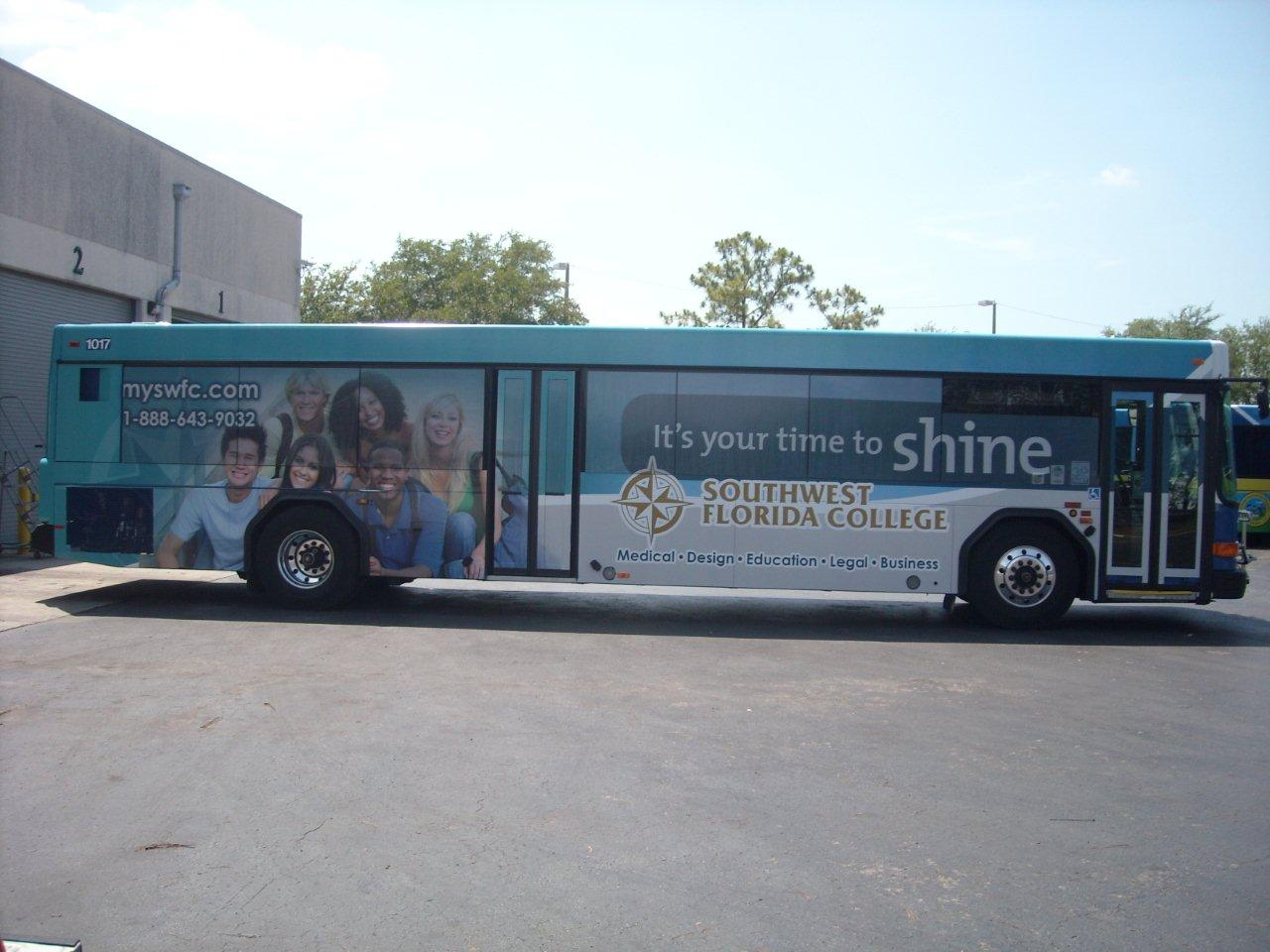 College Bus Graphics for Major Tampa Route