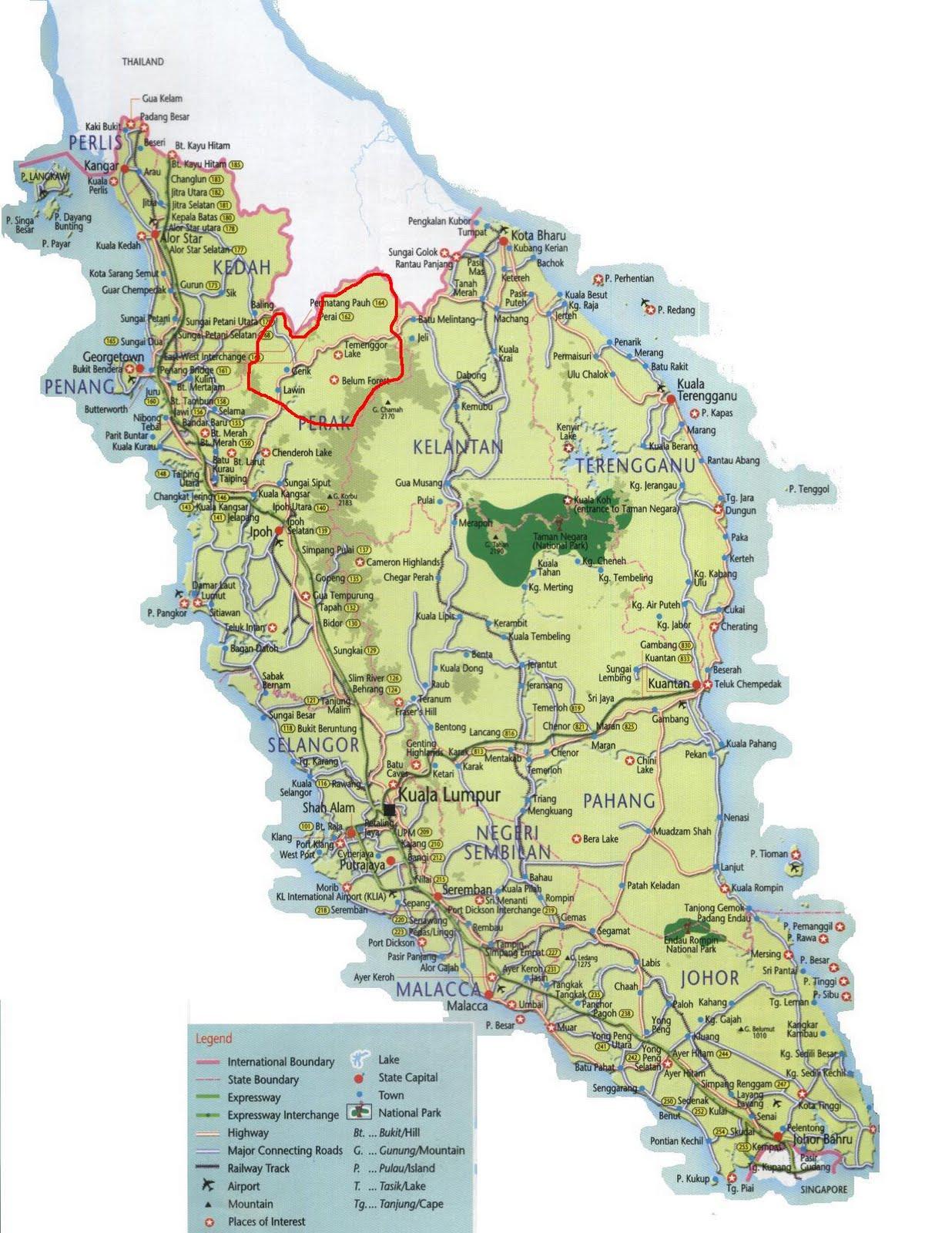 Gerik Malaysia  city photos : Kedudukan daerah Gerik di dalam peta Malaysia. Boleh klik gambar untuk ...