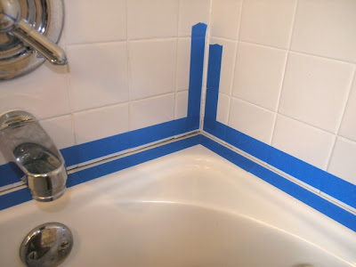 press it down tightly so that the new bathtub caulk doesnu0027t migrate under the tape especially at the tile joints if you have them in your shower wall