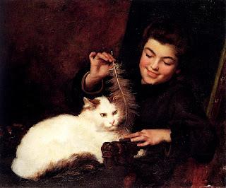 Каритна Девочка с белой кошкой, на которой изображена порода Турецкий ван