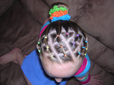 Gymnastics Hairstyle - Rainbow Elastic Braids