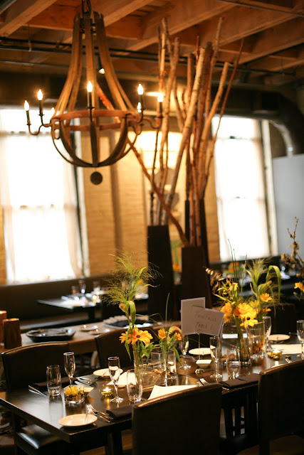 Gorgeous table settings at Hinterland Erie Street Gastropub wedding reception