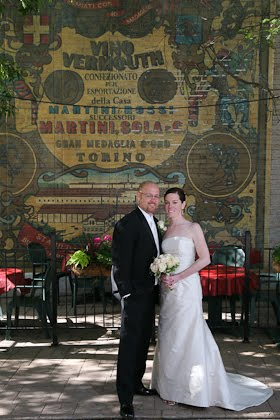 Clare and Artie outside Scoozi restaurant before their wedding in downtown Chicago
