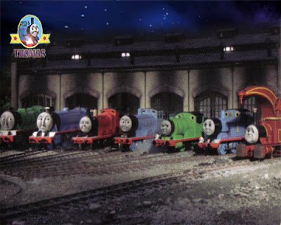 Harvey the crane engine parked outside Sodor roundhouse sheds with Tank Thomas and Friends engines