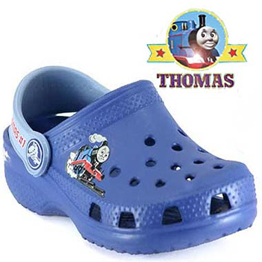 Thomas Tank Engine kids shoes blue dancing clogs with the favorite tomy train and Friends logo badge