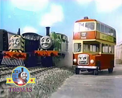 Big Bulgy the bus attempted to pinch the sightseeing day trip passengers from GWR tank engine Duck