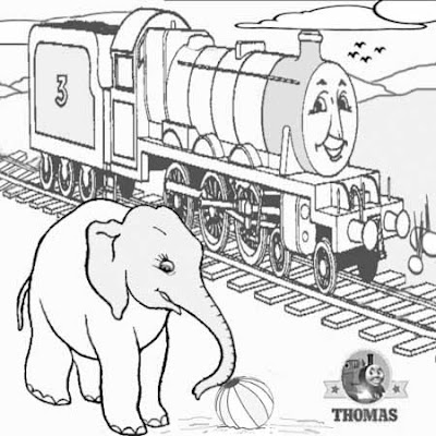 3 Drawing railway clipart preschool crafts the train Henry and the elephant cartoon colouring pages