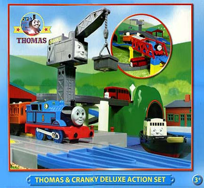 Toy railway system Tomy Thomas and Cranky Deluxe Action Set play your own Thomas Cranky Bugs games